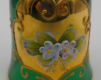 Vintage Murano Glass Bell - Green Glass - Gold Gilding - Ornate