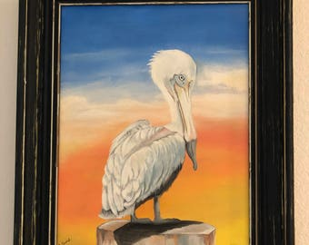"""Original Acrylic Painting """"Perched Pelican"""" by Cecily Emond"""