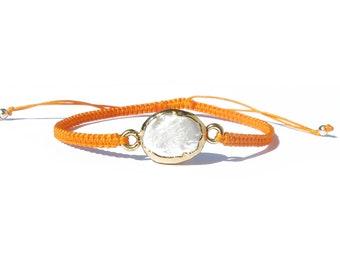 freshwater pearl gold plated mandarin orange knotted cord bracelet / friendship bracelet / gemstone adjustable bracelet / macrame bracelet