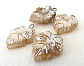Vintage Pearl Beads Glass Drops Antique Ivory Leaf Charms Headpin Wire Loops Japanese vgp0551 (4)