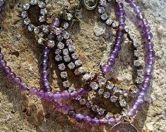 Bracelet multirangs en améthyste naturelle et cristal de Swarovski