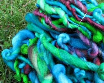 Handspun Art Yarn - Superwash Merino Wool - Bulky Weight Single Ply - OOAK Artisan Yarn - The Deep