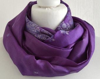 Purple Silver Silk Scarf - Silk Infinity Scarf - Upcycled Sari Scarf - Handmade Scarf - Womens Scarf - Wedding Scarf - Boho Scarf CMCISE0471