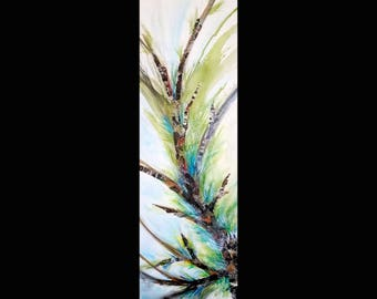 """Upwards Growth Vertical/ Horizontal Switchable Acrylic Mixed Media Painting 12"""" w by 36"""" h by 1.5""""d Free Shipping"""
