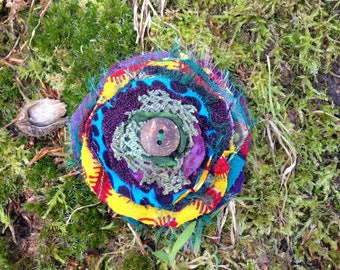 Recycled Fabric Fascinator, Textile Art Brooch, Eco Vegan Gifts, Gift for Her, Hippie Eco Jewellery Festival Fae Accessory