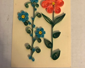 3.5 x 5 Original Quilling Floral Art on Acid Free Paper