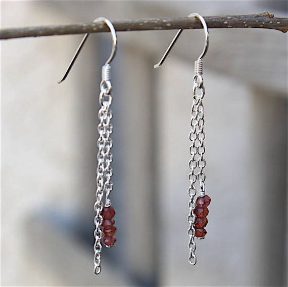 Earrings silver Sterling 925 chain and mozambique garnets