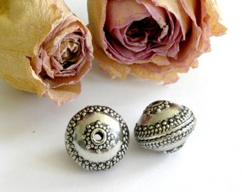 Large round beads, beaded 17 X 14 mm Tibetan silver
