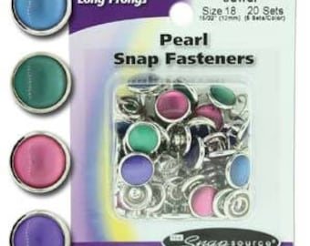 Snap Size 18 Fasteners, Capped Prong Pearl Mix Jewel Colors - 20 Sets