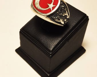 925 Sterling Silver Turkish Flag (Moon and Star) Ring