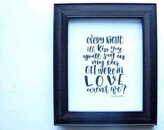 "Hand Lettered Print - Hearts Don't Break Lyrics (Ed Sheeran) 8""x10"""