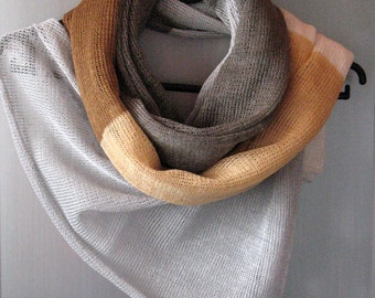 Linen Scarf Beige Brown Grey White Organic Linen Women's Scarf Pure Linen Spring Clothing