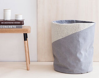 Gray Laundry Hamper with Knit - Gray Laundry Basket - Toy Storage - Nursery Fabric Basket - Storage Bin - Toy Basket - Nursery Storage