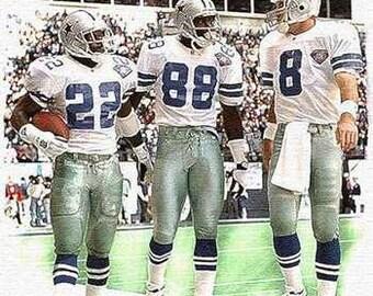 Trio Dallas Cowboys Art Print, Aikman, Irvin, Smith