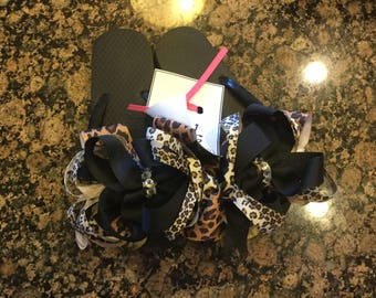 Ribbon wrapped layered black and leopard bow flop flops with crystals size 1-2