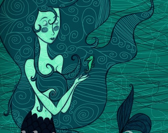 Nautical, Whimsical Mermaid Art Print, 8X10