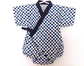 Baby Romper Jinbei Kimono, Japanese Traditial Pattern, Ichimatsu, Tokyo Olympic 2020