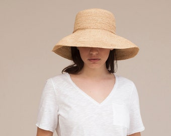 Women wide brim raffia straw hat , Straw hat , Straw hat for women , Summer hats , Sun hat , Beach hat, Boho chic hat , raffia hat