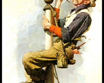 """Norman Rockwell Print, """"Man Painting Flag Poll"""", Original Painting For Post Cover May 26, 1928,  Vintage Book Page Print"""