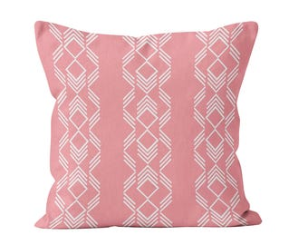 54 colors Modern Pink Boho Pillow Cover, Friendship Bracelet Inspired Losange Geometric Bohemian Chic Teen Bedroom Decor Accent Pillow Cover