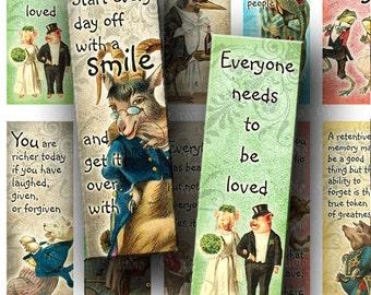 INSTANT DOWNLOAD Digital Images Sheet Vintage Funny Animals Storybook Quotes Phrases 1 x 3 Inch Slides for Pendants Magnets Crafts (M69)