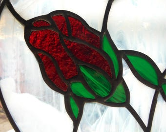 Rose in Heart, Stained Glass, Panel, Sun Catcher, Hand Made