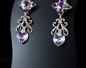 Swarovski Earrings - Statement Earrings with Crystal Hearts - Gothic Victorian Jewelry