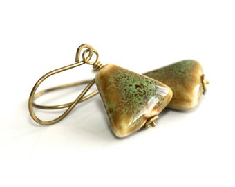 Green Ceramic Earrings - 'Stolen Pride'