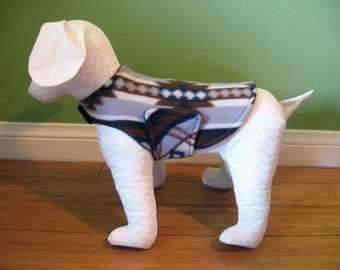 Fleece Dog Coat, Extra Small, Brown, Gray, Navy, and White Southwest Print with Blue Fleece Lining