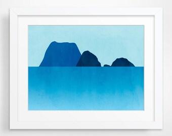 Ocean Abstract Seascape Art, Beach Decor, Minimalist Poster, Turquoise Blue
