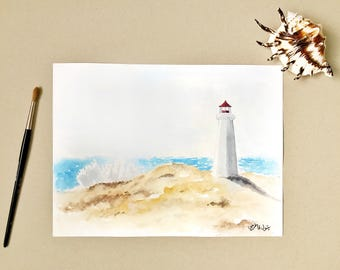 Seascape painting, Lighthouse Painting, Original painting, Lighthouse, Landscape Painting, Beach Painting, Watercolor painting, Beach decor