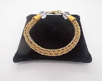 Viking Knit Bracelet - Ladies Woven Bracelelet - Gold Viking Bracelet - Beaded Jewellery Handmade - Gold Bracelet for Women