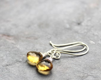 Beer Quartz Earrings Sterling Silver Dangle Earrings Whiskey Yellow Gems Briolette