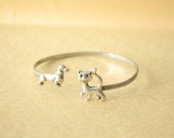 Cat dog cuff bracelet, animal bracelet, charm bracelet, bangle
