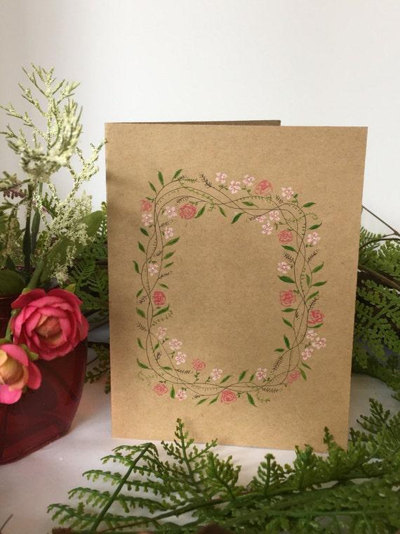 Handpainted floral vine on kraft paper