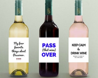 PASSOVER WINE LABELS; passover decor, passover decorations, wine decorations, wine labels, funny wine labels, jewish holiday, funny passover