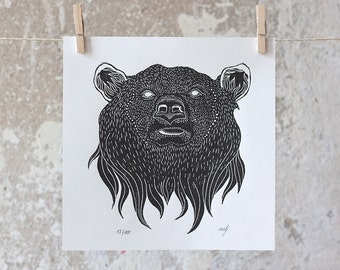 Grizzly Bear Linocut Print