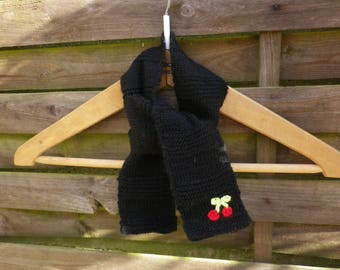 Small black scarf for baby with little cherries Rockabilly style