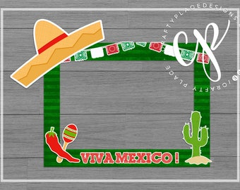 Mexican photo booth frame | Fiesta photo booth prop | Cinco de Mayo photo prop | Selfie frame | Printed