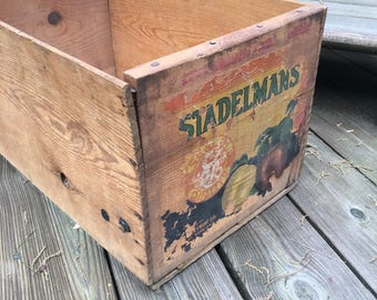 Vintage Wood Crate, Crate Label, Stadelman's Fruit Co., Farmhouse, Rustic, Industrial Decor
