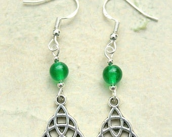 Celtic Knot Earrings With Sterling Silver Hooks & Green Beads New LB59