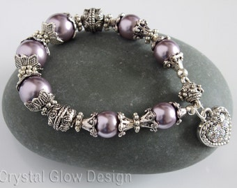 Antique Style Pearl and Silver Swarovski Heart Charm  Bracelet 0014