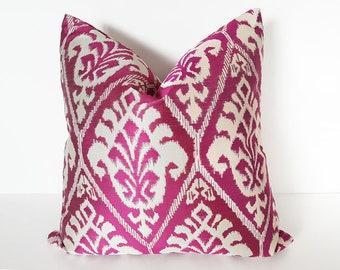 Ikat Pillow, Pink Ikat Pillows, Ikat Pillow Covers, Ikat Throw Pillow, Fuchsia Pillows, White Cream Pink, Bright, Cushion Cover, 18, 20, NEW