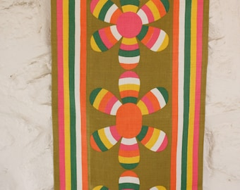 Vintage Vera Neumann Linen Tea Dish Towel Collectable Yellow, Pink, Olive Green, White