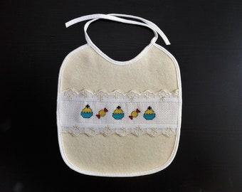 Yellow baby bib, cake, sweets, counted cross stitch, embroidery, needlepoint, DMC