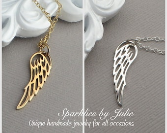 Small Wing Necklace - Select from Sterling Silver or Solid Bronze/Gold Filled, Inspiration, Bird or Angel Wing Pendant