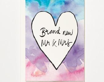 Brand New Mr & Mrs - Greetings Card, Bridal Card, Wedding Card