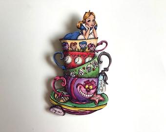 NEW LARGER Teacup Alice - Alice in Wonderland - Laser Cut Wood Brooch