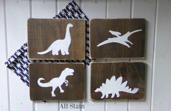 Dinosaur Wood Sign Set Dinosaur Decor Boys DInosaur Bedroom