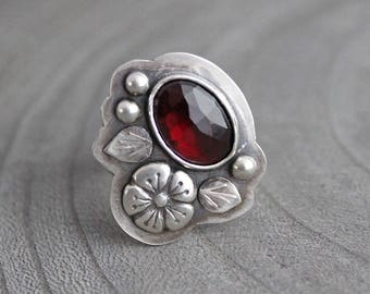 Silver Garnet Ring Rose Cut Garnet OOAK Statement Ring Sterling Silver Red Gemstone January Birthstone Ring Birhtstone Jewelry Flower Ring